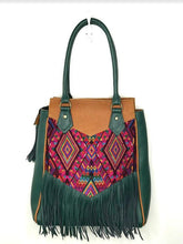 Load image into Gallery viewer, Full front view of MoonLake Designs Luna Over the Shoulder Tote with Fringe bag in Dark Green and Pear Tan leather with dark green leather fringe