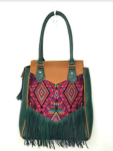 Full front view of MoonLake Designs Luna Over the Shoulder Tote with Fringe bag in Dark Green and Pear Tan leather with dark green leather fringe