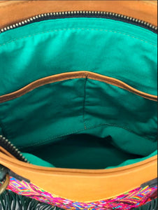 Inside view of MLD Luna Over the Shoulder Tote teal green cotton lining and twin open pockets