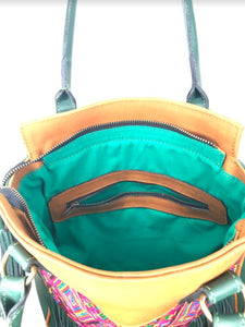 Inside view of MLD Luna Over the Shoulder Tote teal green cotton lining and zippered pocket