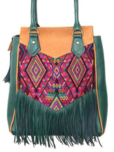 Load image into Gallery viewer, Stunning MoonLake Designs Luna Over the Shoulder Tote with Fringe bag in Dark Green and Pear Tan leather with dark green leather fringe and teal green interior lining and mesmerizing handwoven huipil design