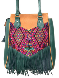 Stunning MoonLake Designs Luna Over the Shoulder Tote with Fringe bag in Dark Green and Pear Tan leather with dark green leather fringe and teal green interior lining and mesmerizing handwoven huipil design