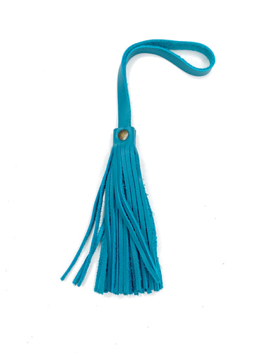 MoonLake Designs handcrafted small leather fringe tassel in turquoise