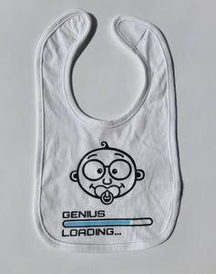 baby genius loading bib spreadshirt babies messy eater cute fun unique funny velcro soother quirky entertaining