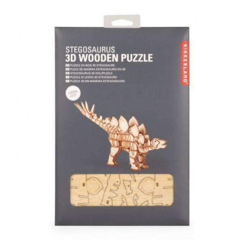 wooden stegosaurus puzzle kikkerland creative challenging 3d sandpaper sharp build construct create dinosaur dinos stego scales prehistoric extinct