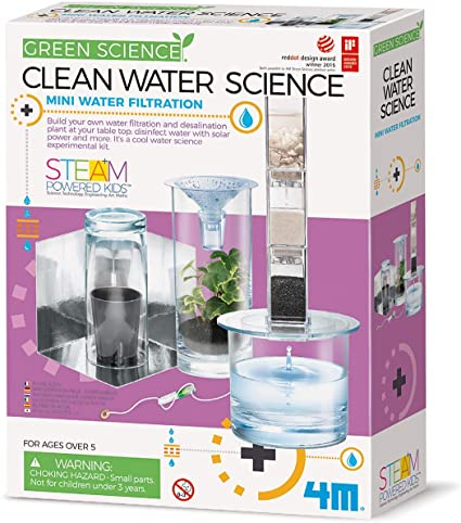 clean water science playwell green science mini water filtration 4M environment environmental desalination plant disinfect water solar power ages 6+ science kit water learning experiments educational chemistry