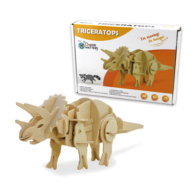 sound controlled triceratops prehistoric three horn model exercise building problem solving critical thinking 90-piece wood illustrations detailed motor move roar clap motion sound ages 8+ puzzle paleontologists engineer engineering creativity