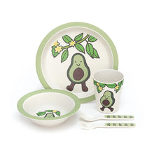 Load image into Gallery viewer, amuseable avocado jellycat green veggie vegetable soft hand wash only cute smile pit safe dish set bamboo plate bowl cup fork spoon illustrations dishwasher safe bamboo fibers