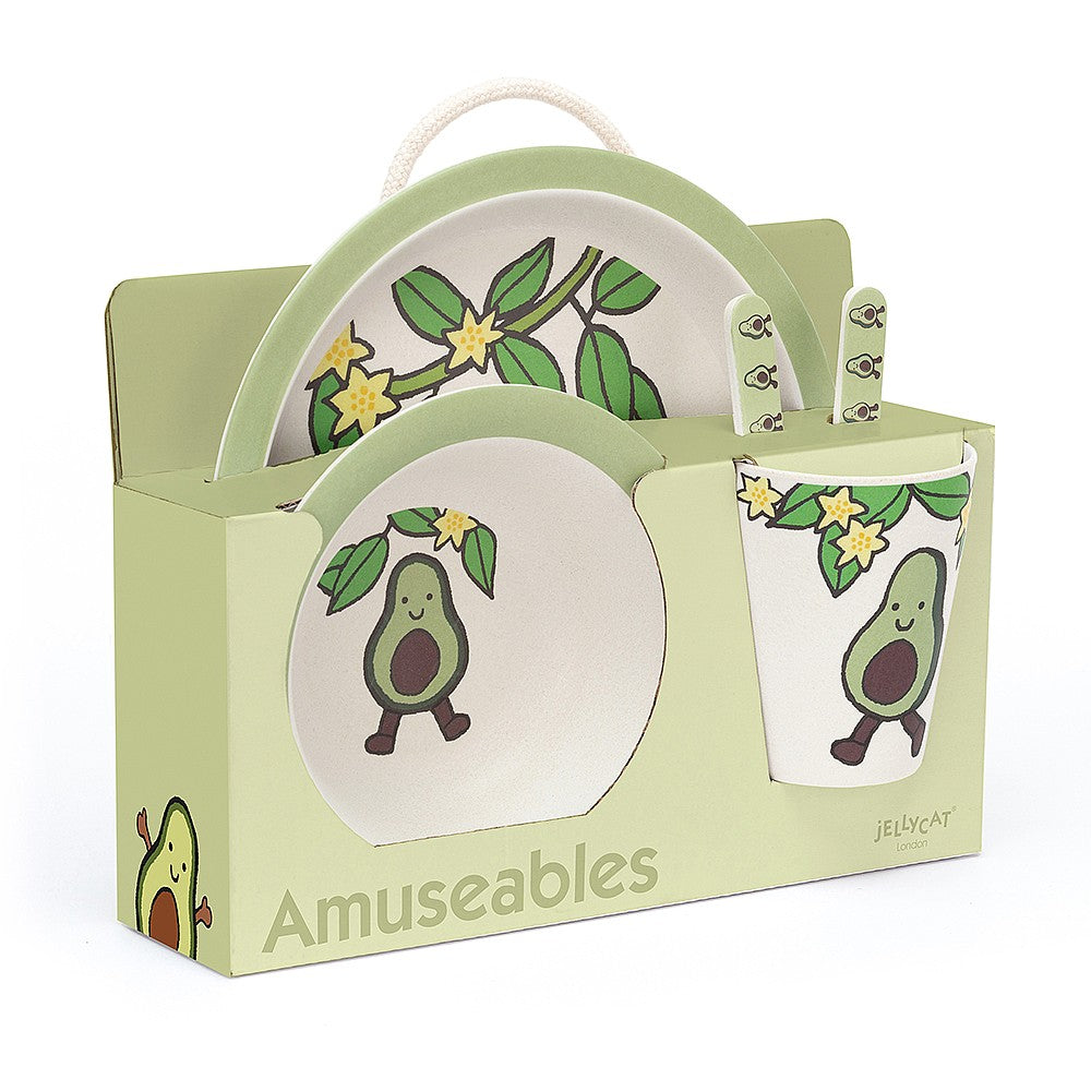 amuseable avocado jellycat green veggie vegetable soft hand wash only cute smile pit safe dish set bamboo plate bowl cup fork spoon illustrations dishwasher safe bamboo fibers
