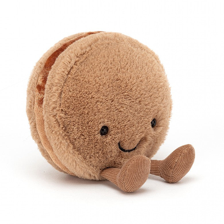 Amuseable macaron jellycat ages 0+ soft delighted sweet velvety filling happy smiley fun unique chocolate