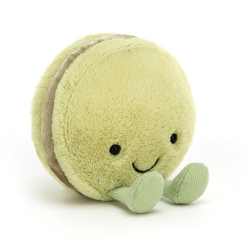 Amuseable macaron jellycat ages 0+ soft delighted sweet velvety filling happy smiley fun unique pistachio
