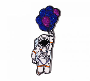 astronaut with balloons enamel pin compoco blue purple float space two pin backs 50mm 2inches unique design style stylish fun cute