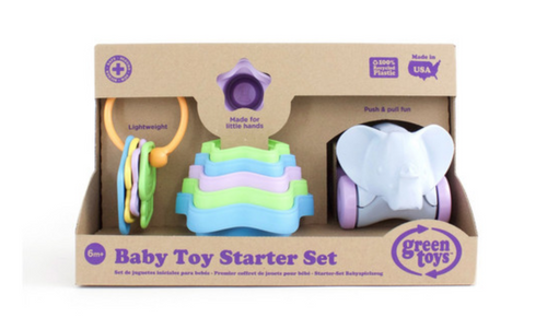 baby toy starter set green toys gift babies first keys stacking cups elephant-on-wheels super safe multiple colors variety stackable push easy-to-grasp little hands babies recycled plastic dishwasher safe easy to clean soy inks