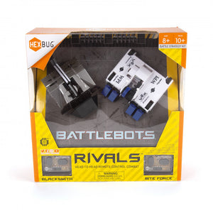 hexbug battlebots rivals blacksmith & biteforce hexbug destroy head to head combat merciless machines rivals remote control ages 8+ batteries included metal battle  power repair repeat gift cool robots robot robotics toys toy axe flinger