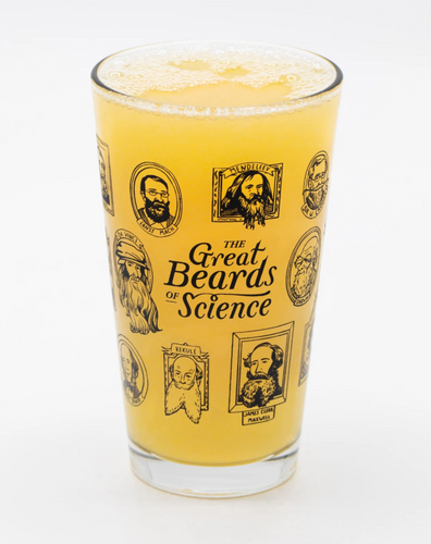 great beards of science pint glass cognitive surplus pavlov darwin bunsen einstein scientist scientists innovative contribution fantastic facial hair beverages biologist chemist physicist 16oz glass glassware beer drinks drink