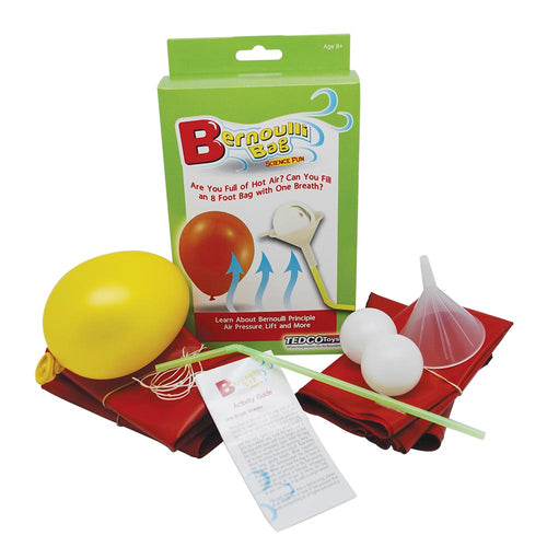 bernoulli bag science kit tedco toys 8 foot long bag air one breath newtons first law of motion air pressure lift gravity ping pong balls science activity 5 activities ages 8+
