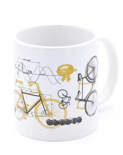 bicycle science 20oz mega mug cognitive surplus fueld up great ride bike bikes bicycles coffee drink glass glassware ceramic dishwasher safe invention physics unique tea science kitchen gift