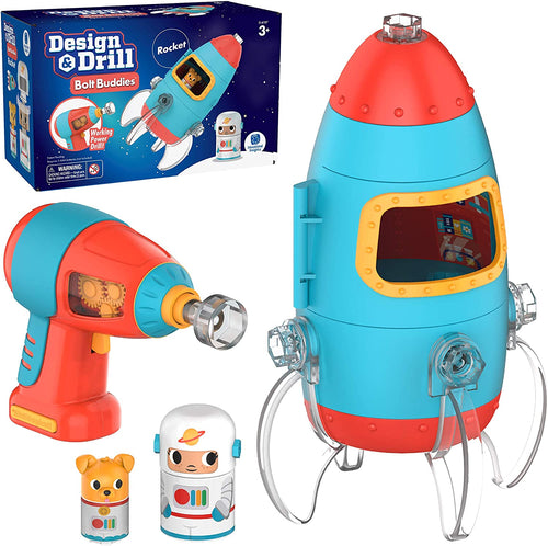 design & drill bolt buddies rocket learning simple construction engineering building fine motor skills tools real working kid safe drill astronaut puppy blast off imagination construction STEM ages 3+