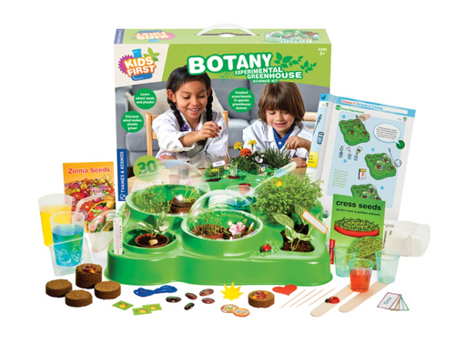 botany experimental greenhouse botanists unique biological science experiment kit plants seeds experiments domes thermometer ventilation automatic watering systems beans cress zinnia flowers cells capillary action roots transport water nutrients water light heat bean leaves sweat grass grows geminate fruit vegetable plants ages 5+ gardening botany