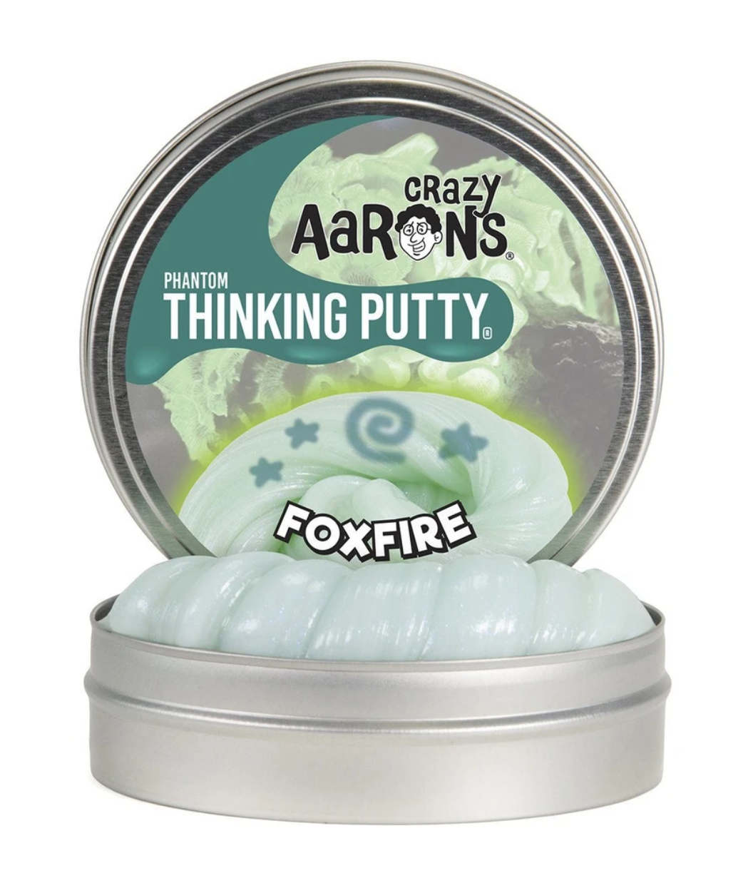 crazy aarons thinking putty  poppable tearable firm texture non-toxic silicon never dries out foxfire eerie glow phosphorescent fairies will'o'wisp glimmering light green bright blue green edge dark glow charger ultraviolet soft