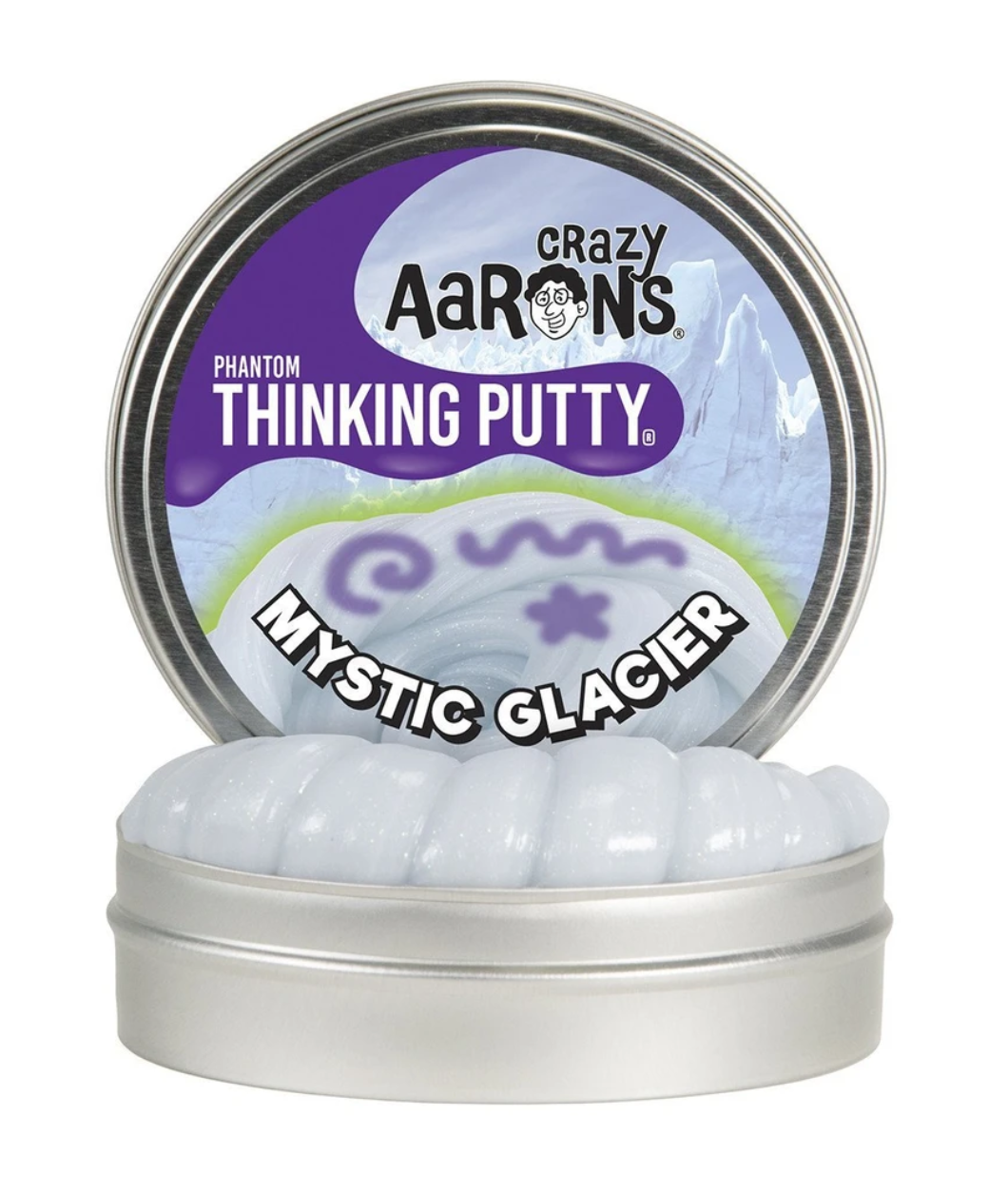 crazy aarons thinking putty  poppable tearable firm texture non-toxic silicon never dries out mystic glacier glow putty glows purple white phantom