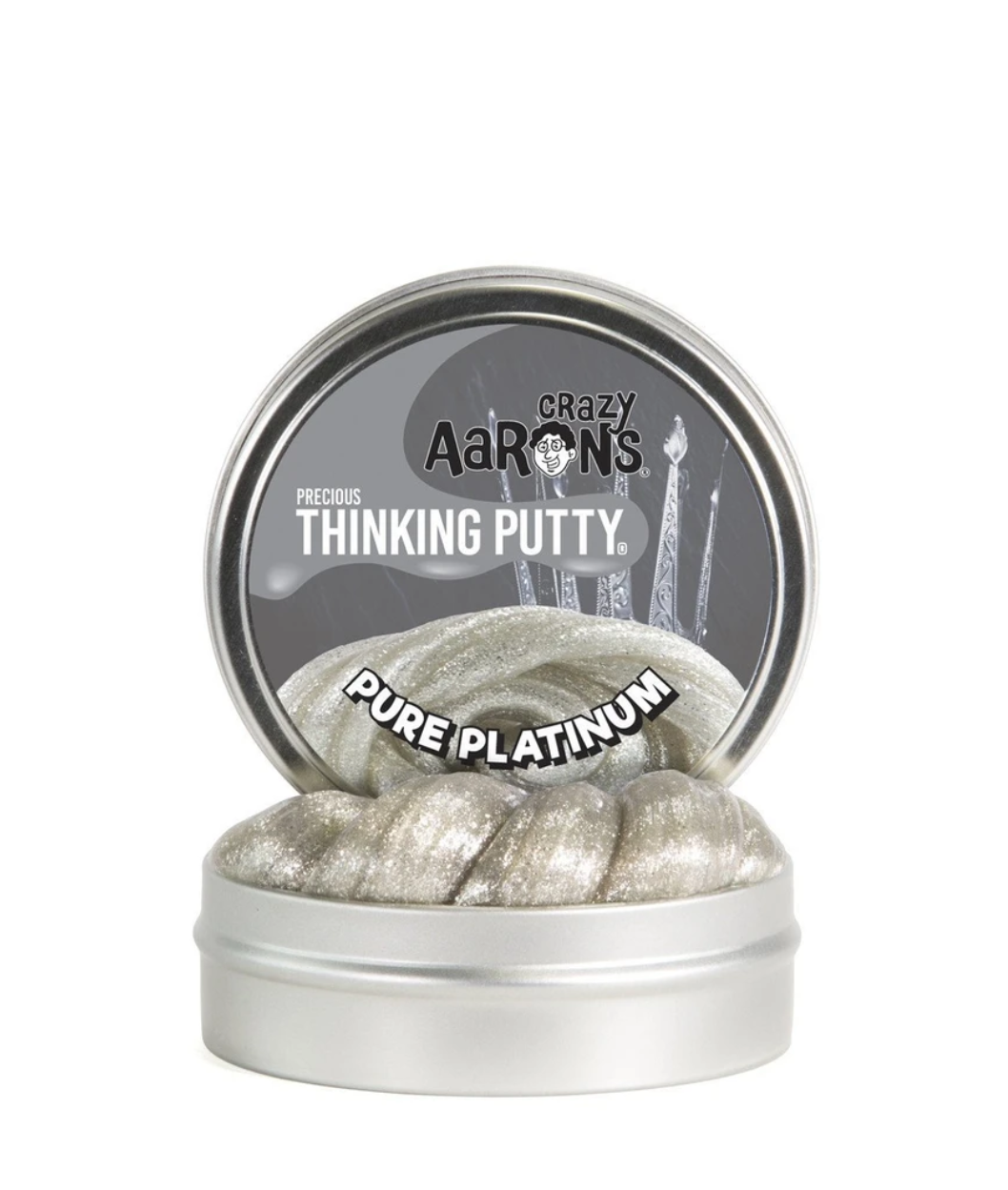 crazy aarons thinking putty  poppable tearable firm texture non-toxic silicon never dries out arctic pure platinum metal precious holographic glitter metallic silver