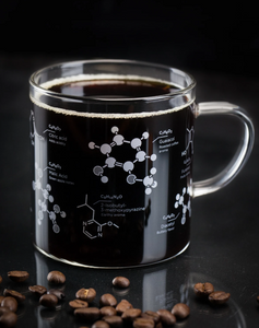 coffee chemistry mug cognitive surplus thesis glass intellectuals thinkers science nerds caffeine 13oz molecules molecular qualities flavors guaiacol roasted aroma diacetyl buttery hand blown unique science mug kitchen glassware glasses gift