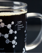 Load image into Gallery viewer, coffee chemistry mug cognitive surplus thesis glass intellectuals thinkers science nerds caffeine 13oz molecules molecular qualities flavors guaiacol roasted aroma diacetyl buttery hand blown unique science mug kitchen glassware glasses gift