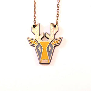 Deer Connector Necklace Citron/Slate