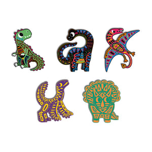 dino scratch art cut out qhousekids janod art kit colorful colors color dinosaurs dinos scratch silhouettes animals gliding wooden stylus artists art artistry creative creativity cut outs
