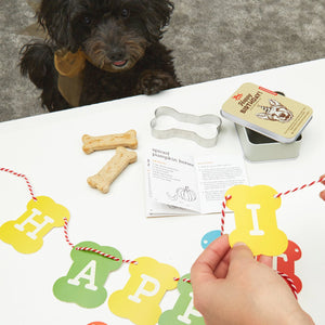 dog birthday kit kikkerland celebrate pooche dog dogs puppy puppies pups doggo doggie tin recipe book cookie cutter bone shape birthday hat banner confetti unique kit happiness gift