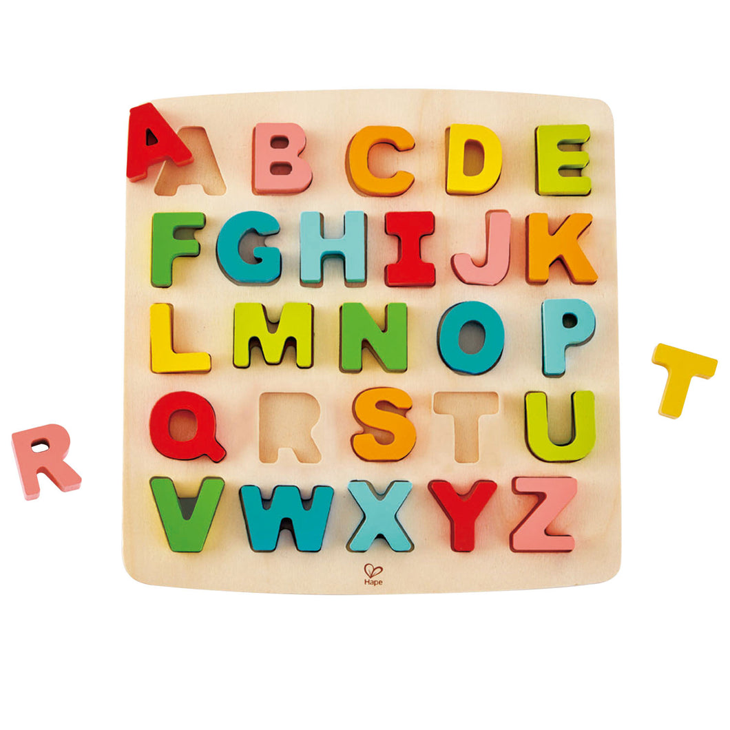 chunky alphabet puzzle hape letter letters development spelling growth develop education educational toddlers children fun colorful colors introduction reading writing clerance blocks baby ages 3+