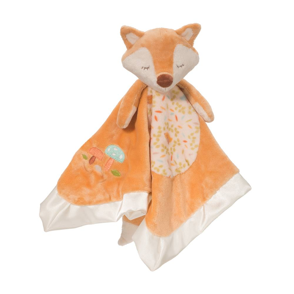 fox lil snuggler douglas ages 0+ cozy soft cute baby babies toy toys lovable plush embroidered baby safe silky satin trim senses whimsical pattern unique gift blanket
