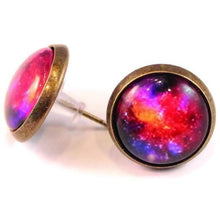 Load image into Gallery viewer, galaxy dome earrings gleeful peacock style out of this world whimsical dainty flair color nostalgia whimsy handmade love variety colors purple red blue spark joy space jewelry for mom ear rings