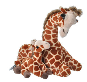 giraffe mom & baby wild republic large mammal ears drinking smelling eating functions soft cuddly cute family ages 0+ plush stuffed animal long neck patterned cute eyelashes