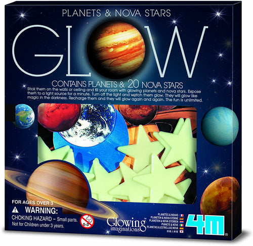 glow planets and nova stars 4M beauty night sky childs bedroom decorate walls ceilings soft foam assorted stars adhesive space enthusiasts anxious ages 3+ white stars star moon home glow decor decoration fun popular exciting paper planets light glow