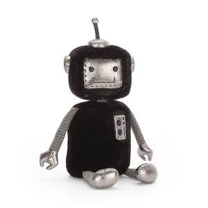 jellybot jellycat ages 0+ robot robots soft black furry shiny silver panels high tech hugger ribbed arms squishy hands unique spark joy space plush gift clearance baby fun