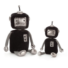 Load image into Gallery viewer, jellybot jellycat ages 0+ robot robots soft black furry shiny silver panels high tech hugger ribbed arms squishy hands unique spark joy space plush gift clearance baby fun