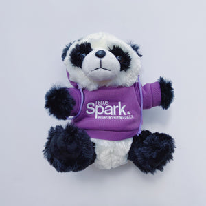 "assorted TELUS spark hooded animal plush stuffed animals cuddly realistic hoodie color variety 7"" recycled materials ages 0+ black bear bison cheetah elephant fennec fox red fox giraffe manatee otter panda penguin polar bear t-rex teddy bear tiger wolf"