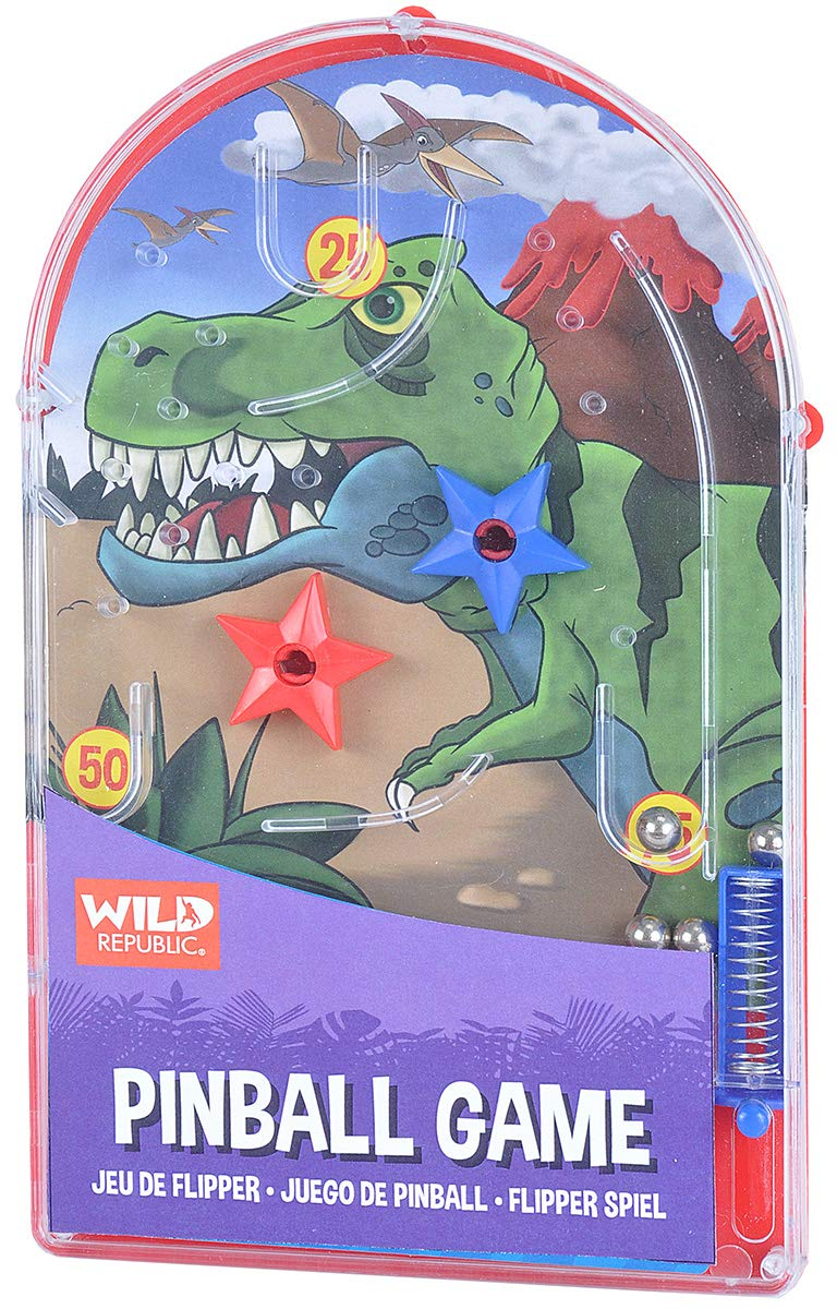 pinball trex wild republic classic pinball game trex theme backboard portable skills points reaction ages 3+ pull balls points score colorful dinosaurs dinosaur tyrannosaurus rex