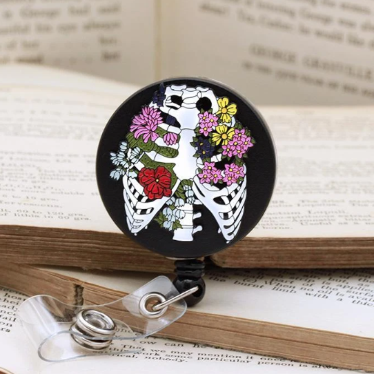anatomical rib cage badge reel codex anatomicus ribs bones flowers cool unique keys fobs wipeable enamel doctors nurses medical students cord clip back cotton pouch