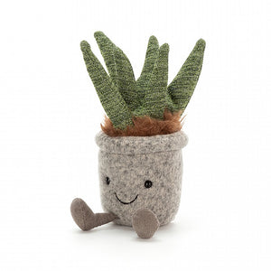 silly succulent aloe jellycat ages 0+ present cozy home plant plants daft adorable grey felt loveable smile gingery fluffy leaves unique spark joy home happiness gift camp decoration