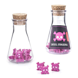 skull erasers kikkerland ancient alchemists transform lead gold pencil lead glow-in-the-dark erasers plastic flask cork stopper pink cool design erasers