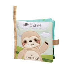 Load image into Gallery viewer, sloth soft activity book douglas ages 0+ rainforest hide and seek silly little sloth lovable character flaps images front back soft mirror baby babies velcro favorites animals animal fabric book soft book activity book