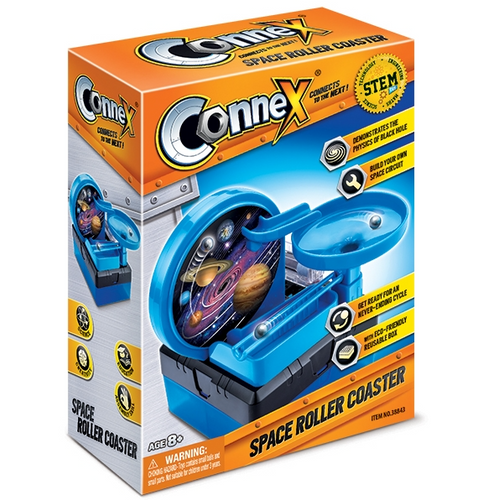 connex space roller coaster space circuit balls ride the wheel black hole physics properties engineers fun kit construction constructing roller coaster skills aseemble build connect wires science in action ages 8+ science kit