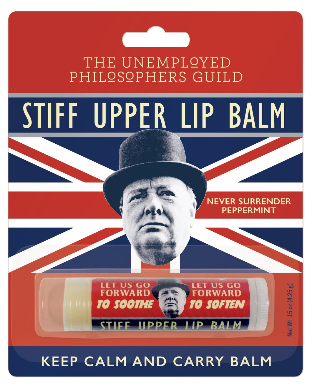 stiff upper lip balm unemployed philosopher's guild history lips sir winston churchill never surrender peppermint happiness gift unique