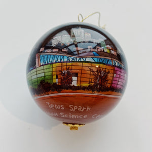 hand painted TELUS spark ornament science center souvenir christmas holiday season tree reverse glass painting unique calgary skyline view spark joy gift decor home
