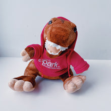 "Load image into Gallery viewer, assorted TELUS spark hooded animal plush stuffed animals cuddly realistic hoodie color variety 7"" recycled materials ages 0+ black bear bison cheetah elephant fennec fox red fox giraffe manatee otter panda penguin polar bear t-rex teddy bear tiger wolf"