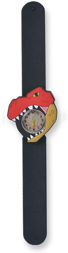 t-rex slapwatch wild republic durable colorful animal themed dinosaur pull tab silicone watch slap dino ages 3+ black red fossil