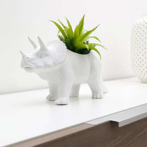 tricerapot kikkerland cretaceous flair home decor succulents plants plant indoor botany bontanist ceramic diana paisis dinosaur dino triceratops unique spark joy happiness gift planter